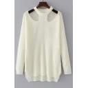 New Fashion Round Neck Long Sleeve Cold Shoulder Plain Pullover Sweater