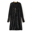 New Arrival Velvet Slip Dress Patched Mock Neck Long Sleeve Shift Midi Dress