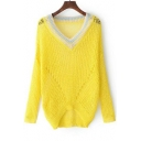 Contrast V-Neck Long Sleeve Sheer Hollow Out Pullover Sweater
