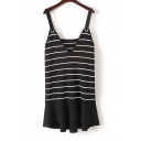 New Arrival Sleeveless V-Neck Striped Leather Straps Midi Knitted Cami Dress