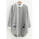 Contrast Lapel Embroidery Cat Pattern Single Breasted Striped Tunic Shirt with Pockets