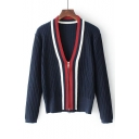 Fashion Color Block V Neck Long Sleeve Zip Placket Cardigan