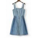 Sleeveless Fashion Buttons Down Plain Mini A-Line Denim Overall Dress