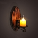 Industrial Mini Wall Sconce with Wooden Lamp Base in Leaf Shape