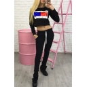 Hot Fashion Letter Printed Long Sleeve Round Neck Cropped Sweatshirt with Sports Pants