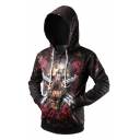 Fashion Digital Floral Skull Pattern Long Sleeve Zip Up Hoodie