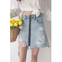 Summer's High Rise Fashion Ripped Plain Zip Up Mini A-Line Denim Skirt