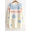 New Fashion Color Block Loose Long Sleeve Round Neck Pullover Sweater