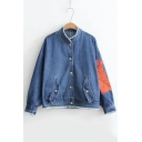 Boyfriend Style Long Sleeve Stand Up Collar Fringe Hem Button Down Denim Jacket