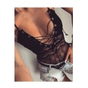 Summer's Sexy Hollow Out Lace Inserted Grommet Lace-Up Plunge Neck Plain Bodysuit