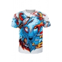 Hot Fashion Cartoon Wolf Pattern Casual Short Sleeve Round Neck T-Shirt