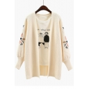 Chic Floral Embroidered Lantern Long Sleeve Open Front Cardigan Coat