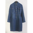 New Fashion Lapel Collar Long Sleeve Buttons Down Plain Midi Denim Dress with Double Pockets
