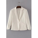 Basic Simple Plain Notched Lapel Collar Long Sleeve Blazer Coat with Single Button