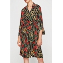 Chic Floral Striped Pattern Lapel Collar Long Sleeve Midi Wrap Shirt Dress