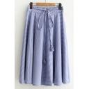 Elastic Waist Bow Tied Fashion Plaids Pattern Midi A-Line Skirt