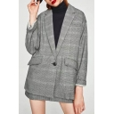 Women's Notched Lapel Long Sleeve Plaid Single Button Blazer with Pockets