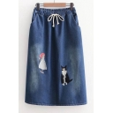 New Fashion Cartoon Girl Cat Embroidered Drawstring Waist Midi Denim Skirt