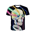 Fashion Digital Skull Pattern Short Sleeve Round Neck Pullover T-Shirt