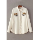 Symmetrical Tiger Head Embroidered Lapel Collar Long Sleeve Buttons Down Shirt