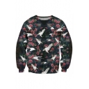 Floral Bird Printed Round Neck Long Sleeve Pullover Sweatshirt