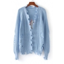 New Stylish Embroidery Pattern Cutout Trim Ripped Plain Cardigan