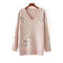 Women's Embroidery Floral Pattern V-Neck Long Sleeve Pullover Sweater