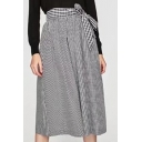 Women's Bow Detail Belt Zip Side Plaid Midi A-Line Skirt
