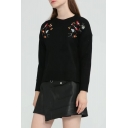 Chic Floral Embroidered Round Neck Long Sleeve Dipped Hem Sweater