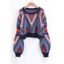 Fashion Lantern Long Sleeve Round Neck Color Block Cropped Pullover Sweater