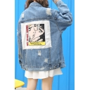 Women's Appliqued Back Ripped Long Sleeve Single Breasted Denim Jacket