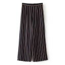 Comfortable Elastic Waist Striped Color Block Wide Leg Pants