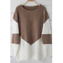 Chic Color Block Comfort Round Neck Long Sleeve Loose Sweater
