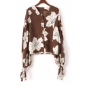 Women's V-Neck Floral Printed Tied Cuffs Long Sleeve Button Down Top