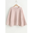 Simple Plain Casual Loose Fashion Hollow Out Long Sleeve Round Neck Sweater