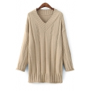 New Collection V Neck Long Sleeve Simple Plain Tunic Sweater