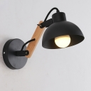 Industrial Adjustable Wall Lamp with Wood Arm and Dome Shape Shade