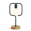 Industrial Table Lamp Wrought Iron Square Shape with Wooden Base