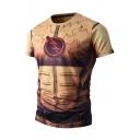 New Stylish Digital Pattern Leisure Sports Round Neck Short Sleeve T-Shirt