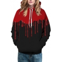 Fashion Digital Dropped Blood Pattern Unisex Hoodie with Pockets