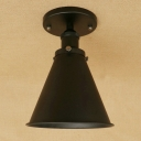 Vintage Semi Flush Light with Coolie Shade, Satin Black