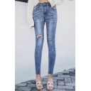 New Fashion High Waist Stylish Ripped Out Knees Skinny Jeans