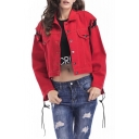Lace Up Long Sleeve Lapel Single Breasted Contrast Letter Printed Denim Jacket