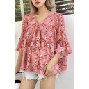 Summer's Fashion Floral Printed V Neck Flared Sleeve Pullover Blouse