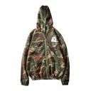 Cartoon Cat Printed Classic Camouflage Pattern Zip Up Hooded Coat