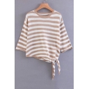 Striped Color Block Knotted Asymmetric Hem 3/4 Length Sleeve Sweater