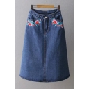 Symmetric Embroidery Floral Pattern Maxi Denim A-Line Skirt