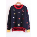 Chic Embroidered Long Sleeve Round Neck Casual Leisure Pullover Sweater