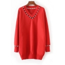 Chic Pearl Embellished Hollow Out V Neck Long Sleeve Plain Tunic Sweater