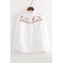 Interesting Cartoon Embroidery Pattern Lapel Long Sleeve Button Down Shirt